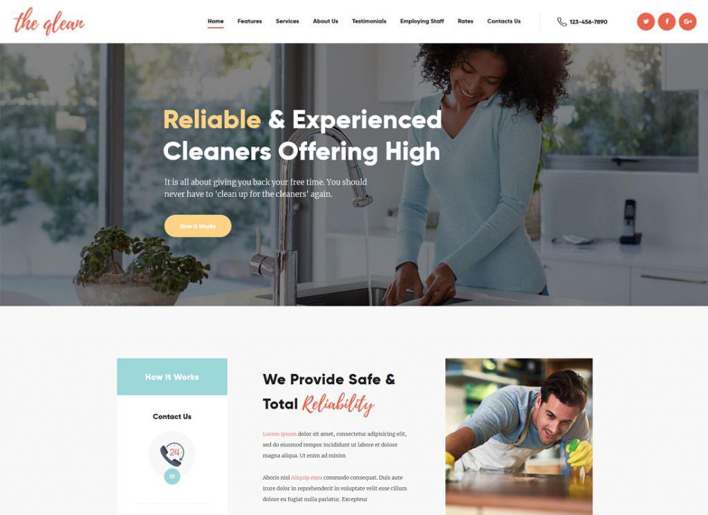 Домашнее хозяйство: моющая и чистящая компания WordPress шаблон