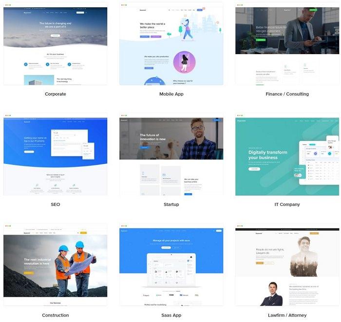 Exponent тема Вордпресс для бизнес сайта 26+ демо сайтов
