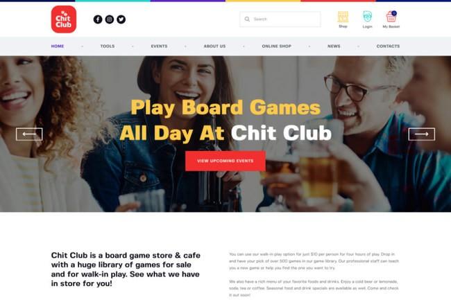 Chit Club | WordPress шаблон для антикафе и клуба настольных игр