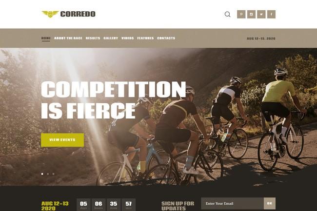 Corredo | WordPress шаблон для велогонок и спортивных мероприятий