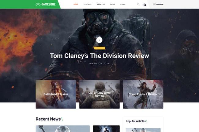 Gamezone | WordPress шаблон для гейминг-блога и магазина