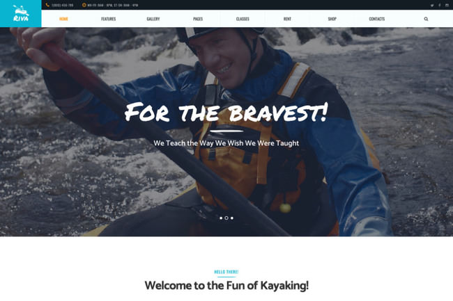 Kayaking | шаблон WordPress для каякинга и водных видов спорта