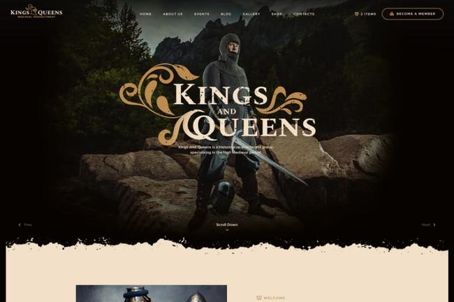 Queens | WordPress шаблон для игры с исторической реконструкцией