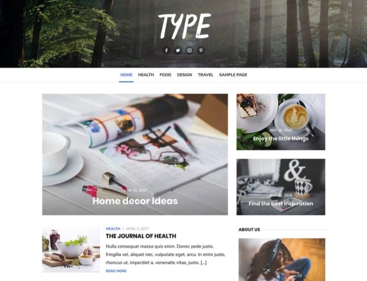 Type тема для блога