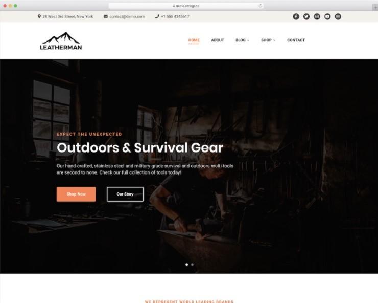 Leatherman тема для сайта выживания или рыбалки