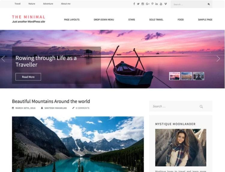 The Minimal тема для блога о путешествиях