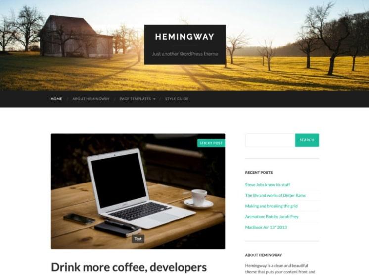 Hemingway тема для блога