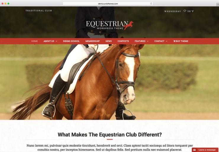 Equestrian тема для сайта охоты, рыбалки или конюшни