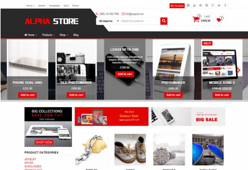 Alpha Store тема для онлайн коммерции