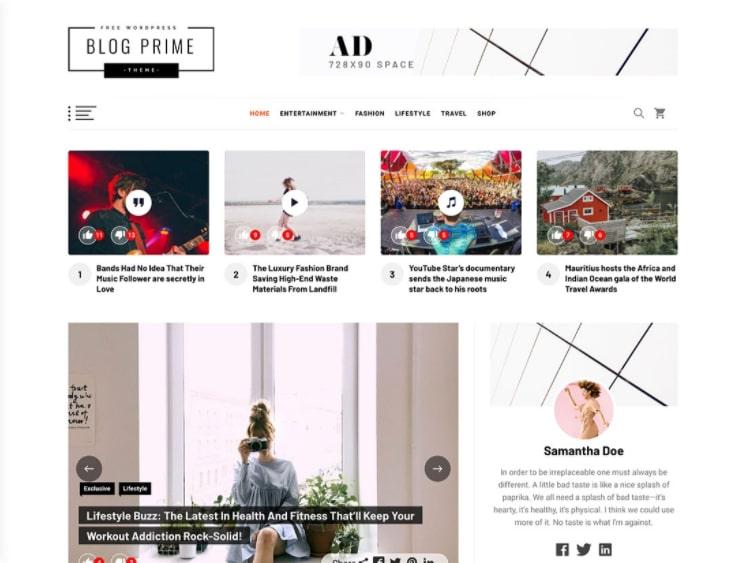 Blog Prime тема для онлайн блога
