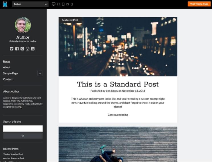Author шаблон для блога о путешествиях