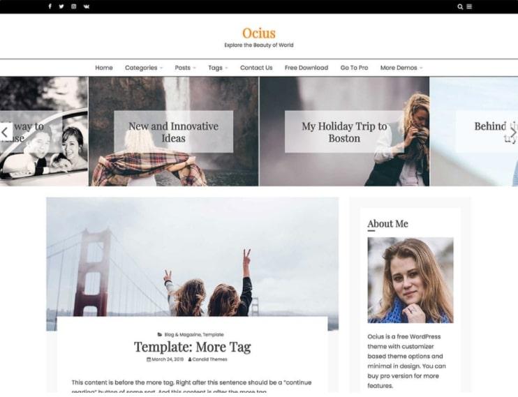 Ocius тема для модного блога