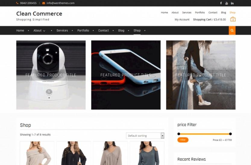 Clean Commerce тема вордпресс для сайта электронной коммерции