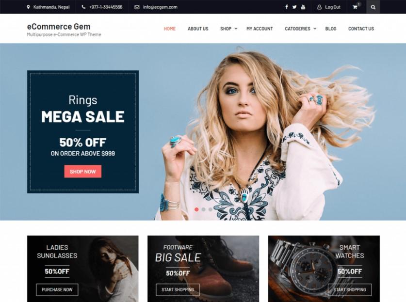 eCommerce Gem тема WordPress для WooCommerce-премиум-класса