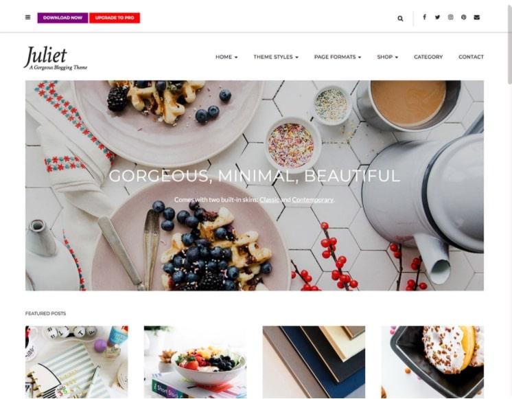 Juliet тема для блога о еде