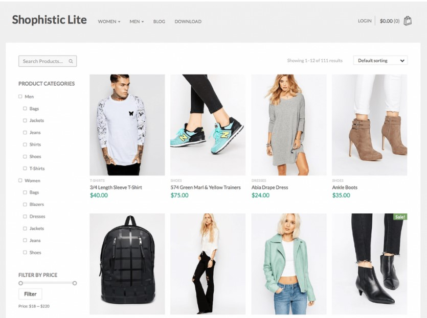 Shophistic Lite тема WordPress для магазина одежды