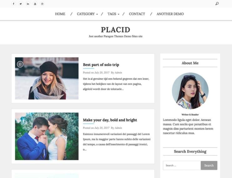 Placid тема для блога