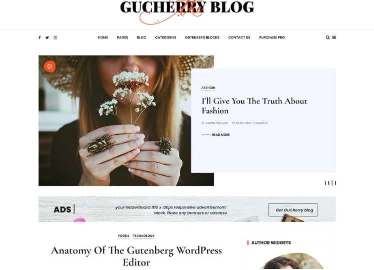 Gucherry Blog тема для блога о моде