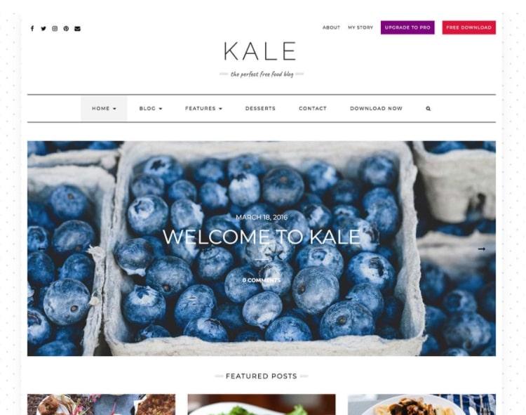 Kale тема для блога о еде