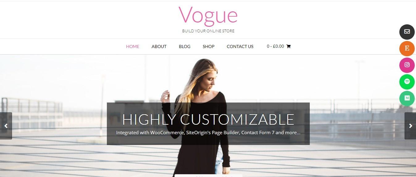 Vogue тема для ювелирного магазина