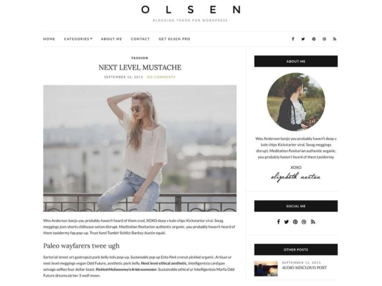 Olsen Light тема для бьюти-блога