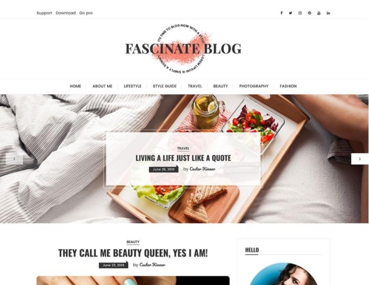 Fascinate тема для блога о еде