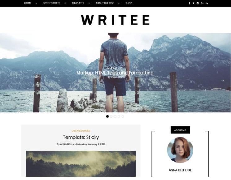 Writee тема для творческого блога