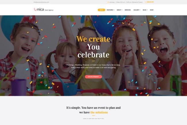 Unica | шаблон WordPress для агентства по организации мероприятий