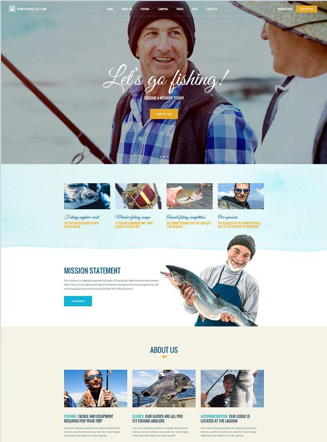 Fishing Club шаблон для сайта рыболовного сообщества