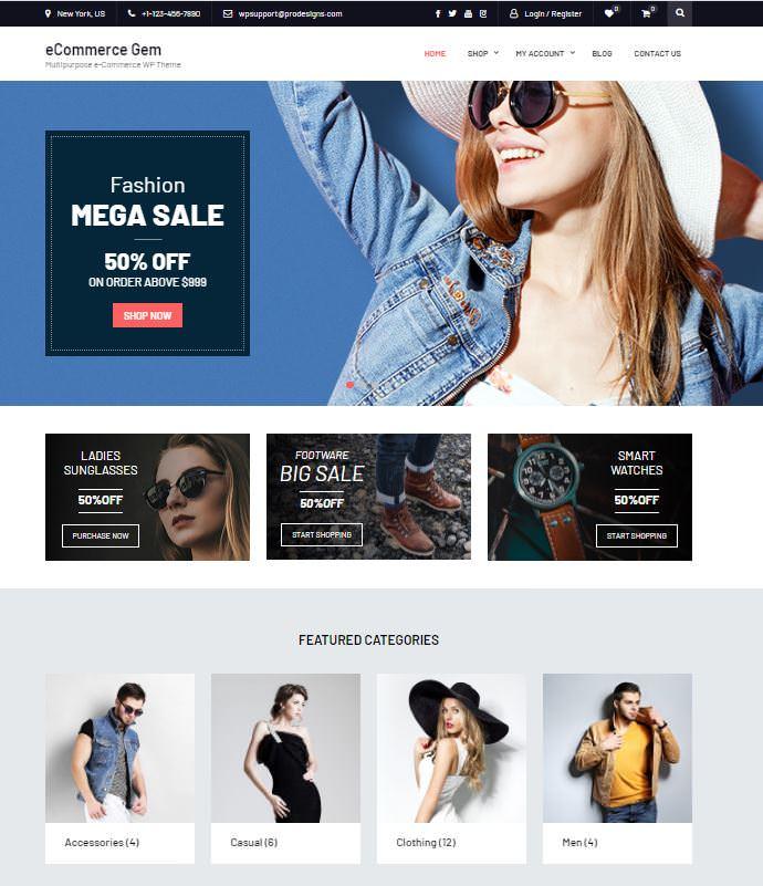 eCommerce Gem - это современная и идеальная тема WordPress для интернет-магазина