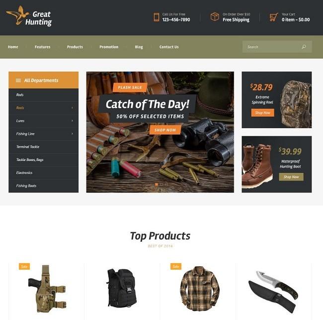Fishing and Hunting шаблон для охотничьего сайта или магазина для рыбаков 2 демо