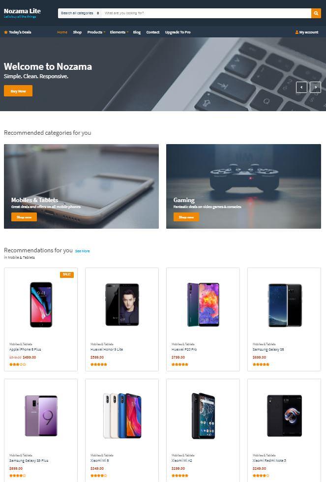 Nozama Lite шаблон Вордпресс для продажи товара в Интернете