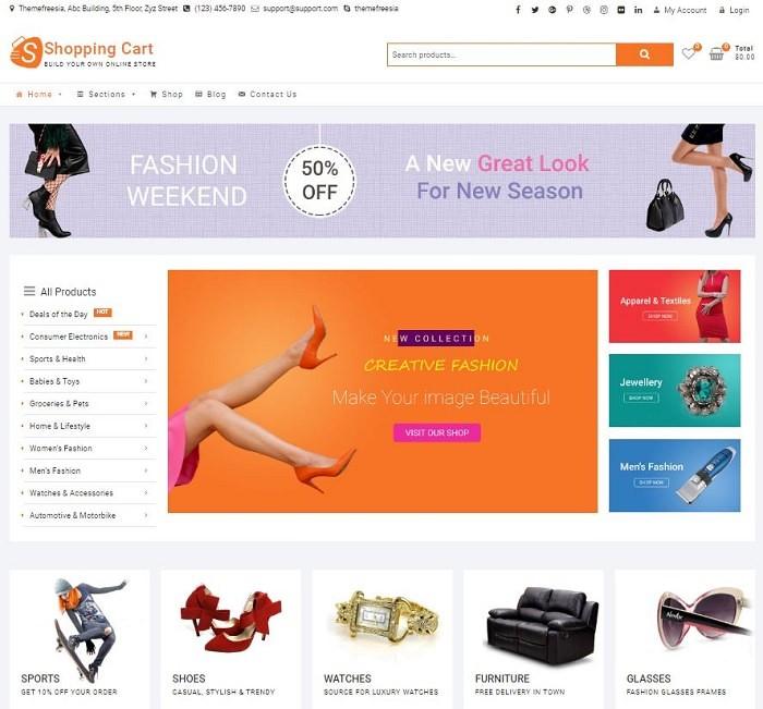Shopping Cart тема Вордпресс для сайта модной одежды и ювелирного магазина