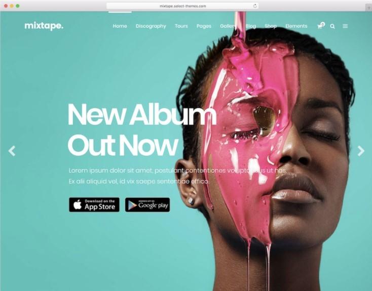 Mixtape тема для веб сайта музыкального альбома