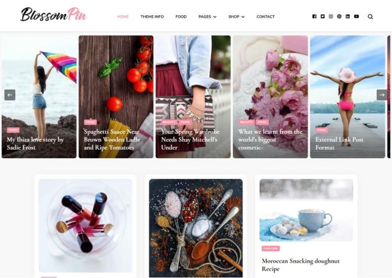 Blossom Pin тема для модного веб сайта