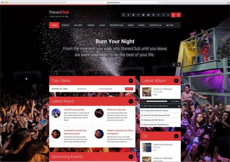 StereoClub тема для сайта ночных клубов