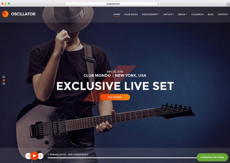 Oscillator музыкальная тема WordPress