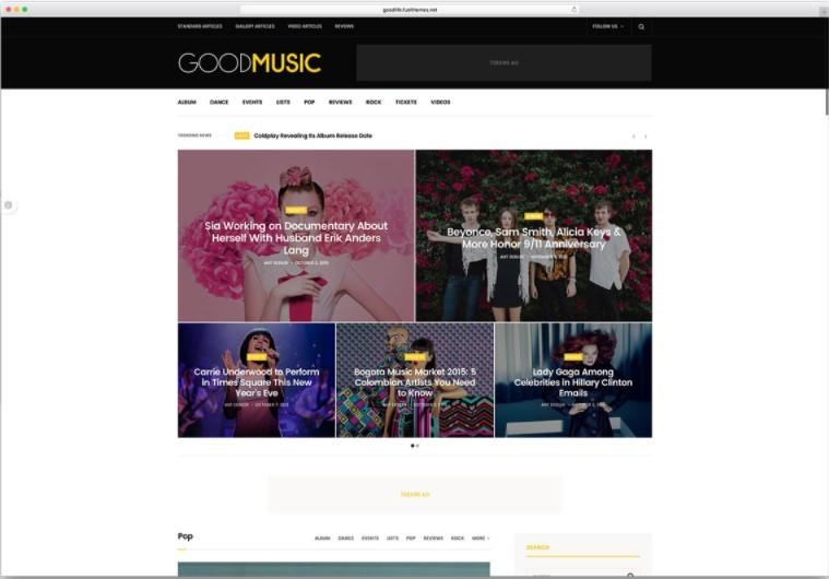 GoodLife шаблон для сайта музыкального журнала