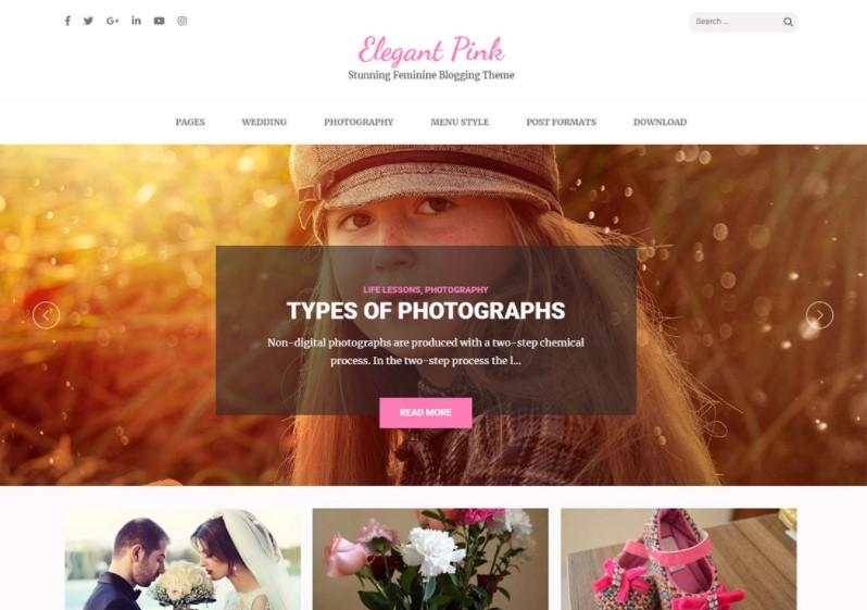 Elegant Pink тема для личного блога
