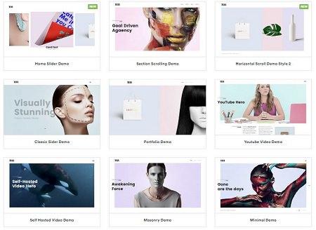 Adios тема WordPress для сайта портфолио 2020, 16 демо-версий