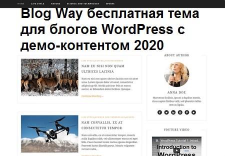 Blog Way - идеальный бесплатный шаблон для блогов WordPress 2020