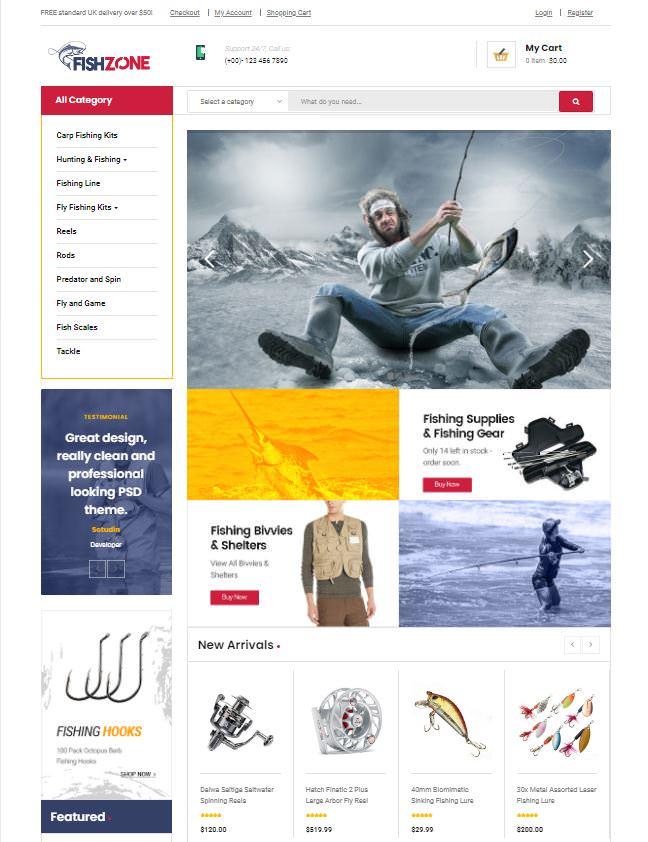 Fishzone шаблон для рыболовного магазина на WooCommerce