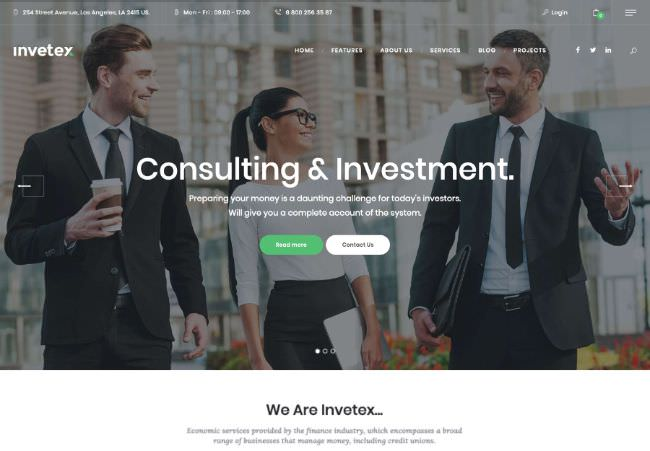 Invetex |  WordPress Business Consulting & Investments + RTL theme