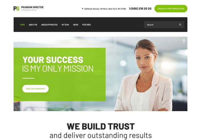 Pearson Specter |  Lawyer WordPress Template
