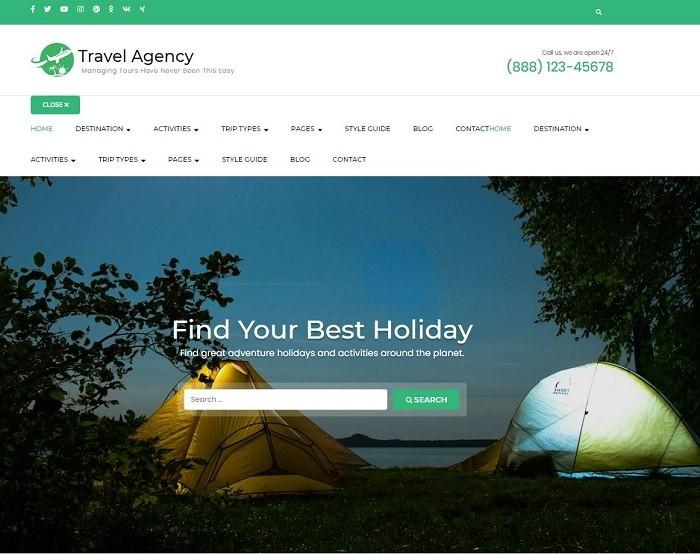 Travel Agency бесплатная русская тема WordPress для турагенства