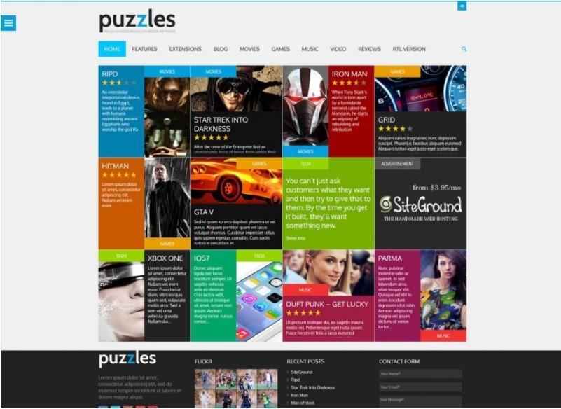 Puzzles шаблон для сайта по киберспорту