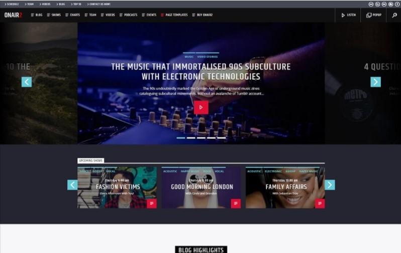 Onair2 тема для подкастов музыкального артиста