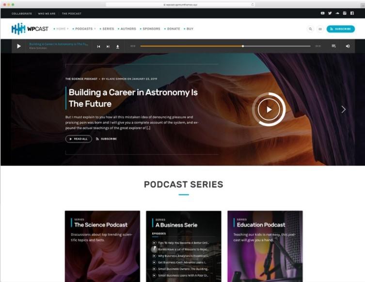 Wpcast тема для подкастов WordPress