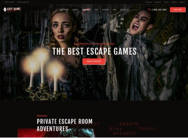 Exit Game темак для сайта квеструма или киберспорта