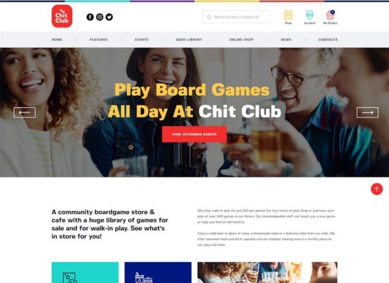 Chit Club шаблон для сайта настольных игр